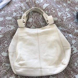 White Italian pebbled-leather shoulder tote.